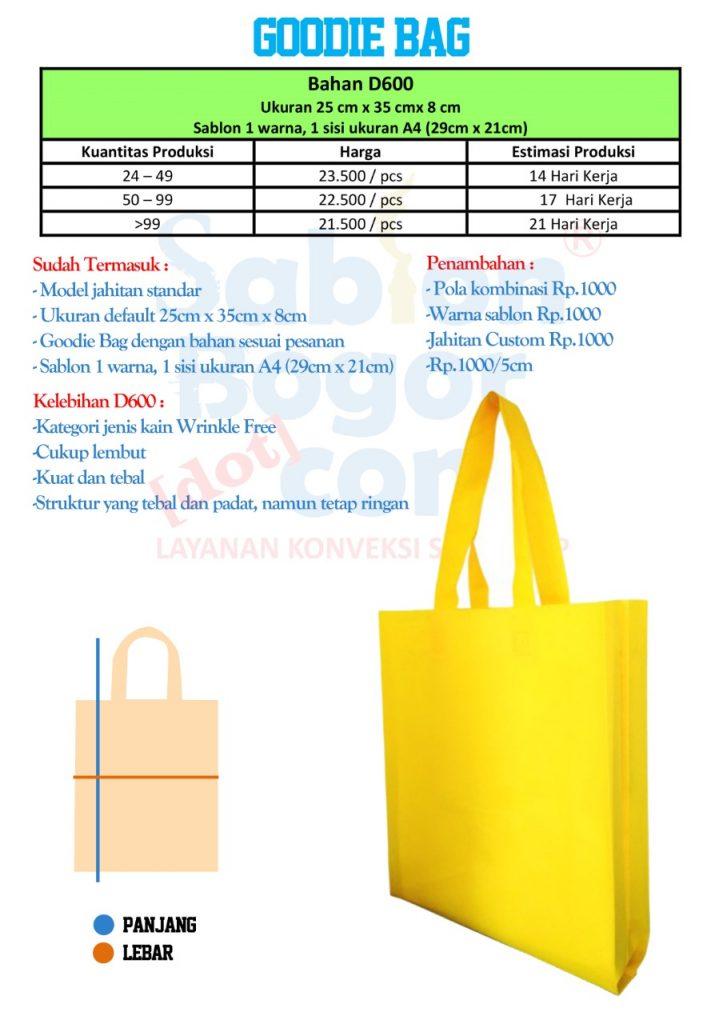 Goodie bag bahan D600